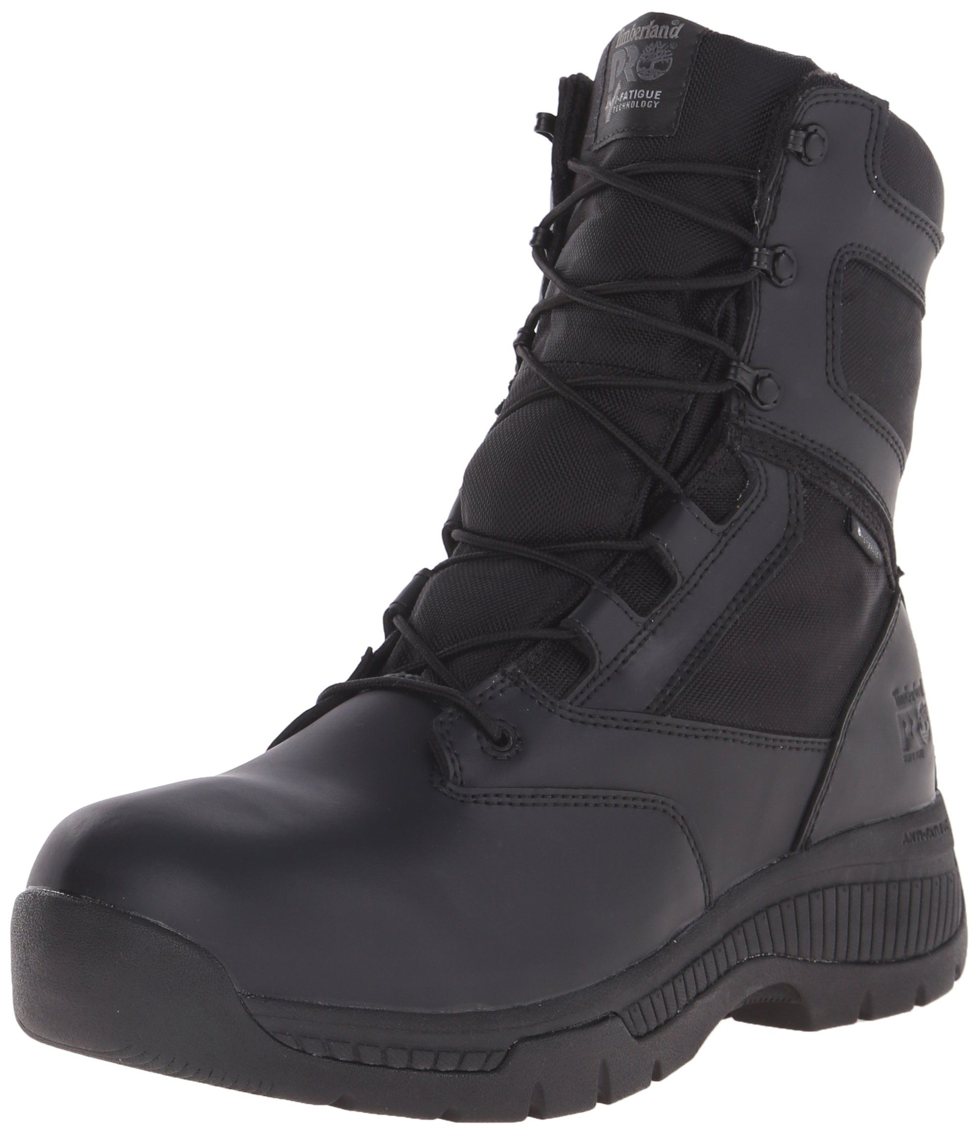 Timberland PRO Mens 8 Inch Valor Soft Toe Waterproof Side Zip Work Boot  Black Smooth Leather