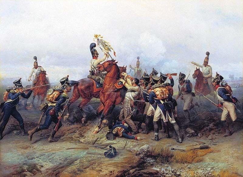 La guardia russa cattura l'Aquila del 4 rgt. fanteria di linea francese a Austerlitz