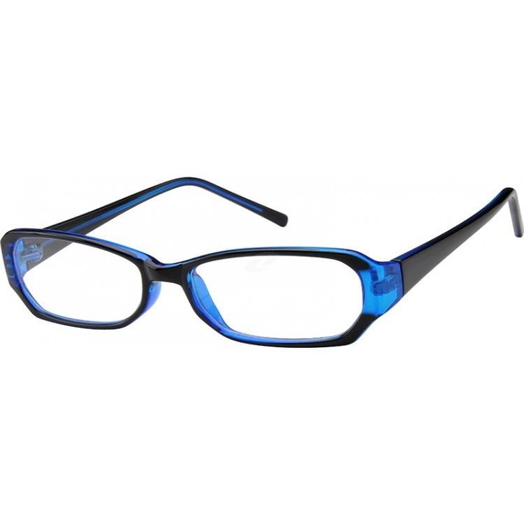 A medium size plastic full-rim frame, with a short lens height ...