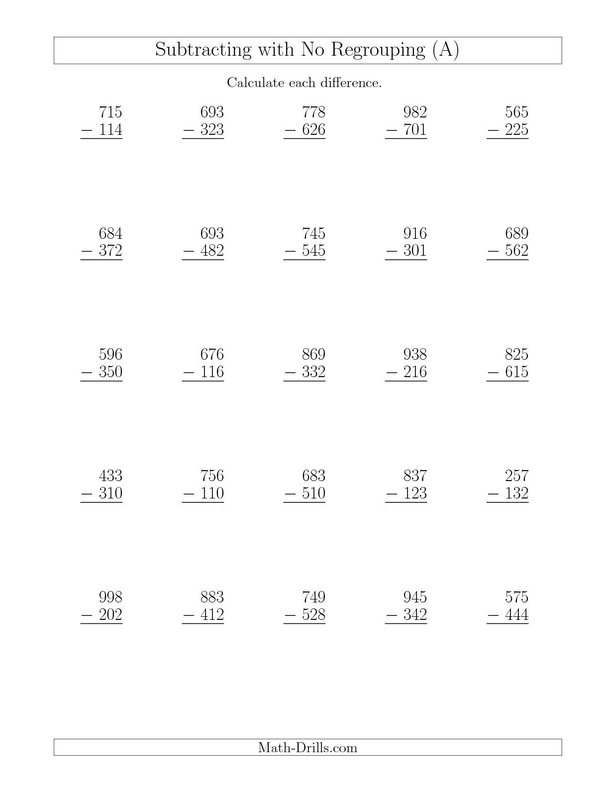 Regrouping 3 Digit Subtraction Scalien – 3 Digit Subtraction with Regrouping Worksheets