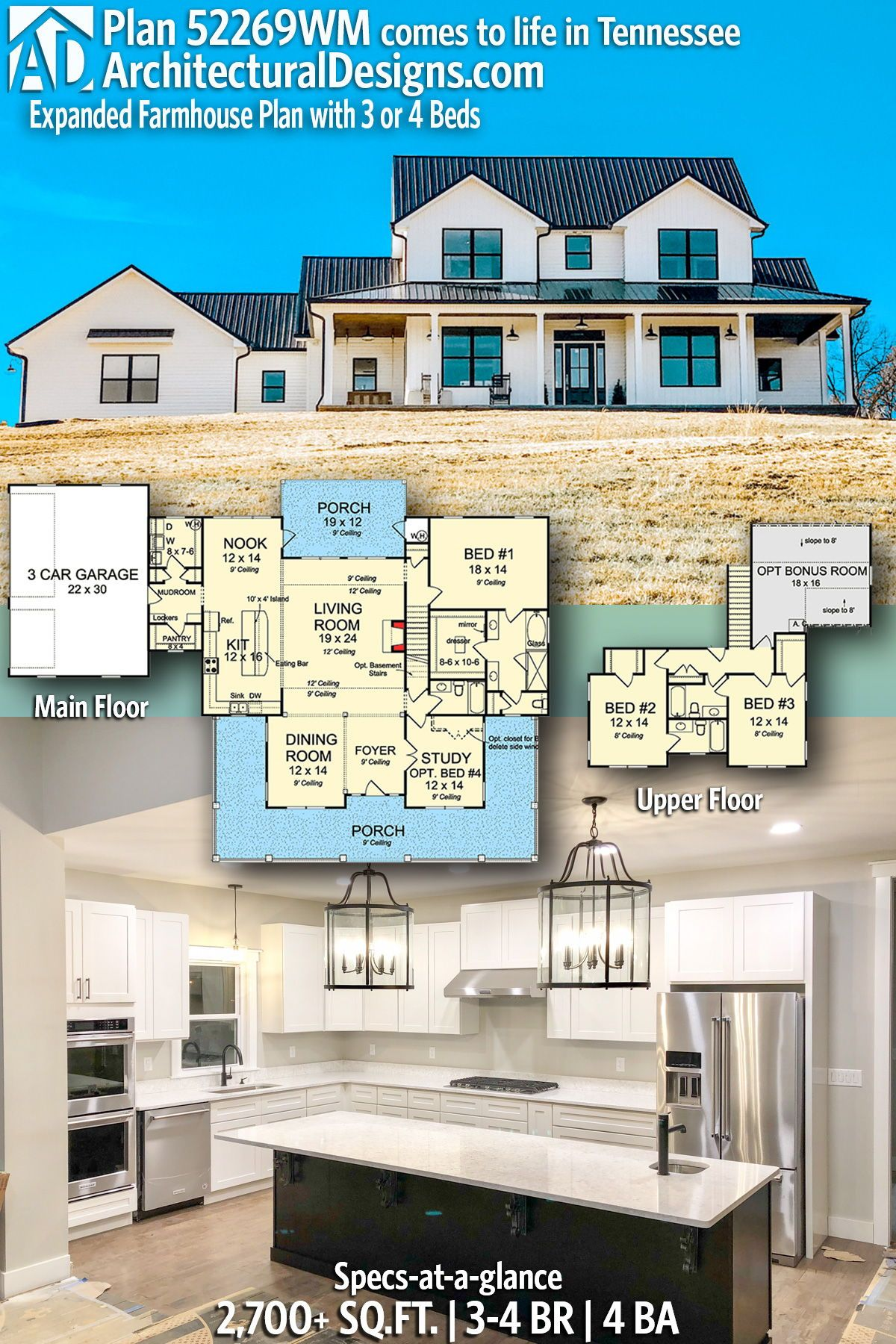 Architectural designs farmhouse plan wm client built in tennessee bedrooms also best floor plans images dream home house rh pinterest