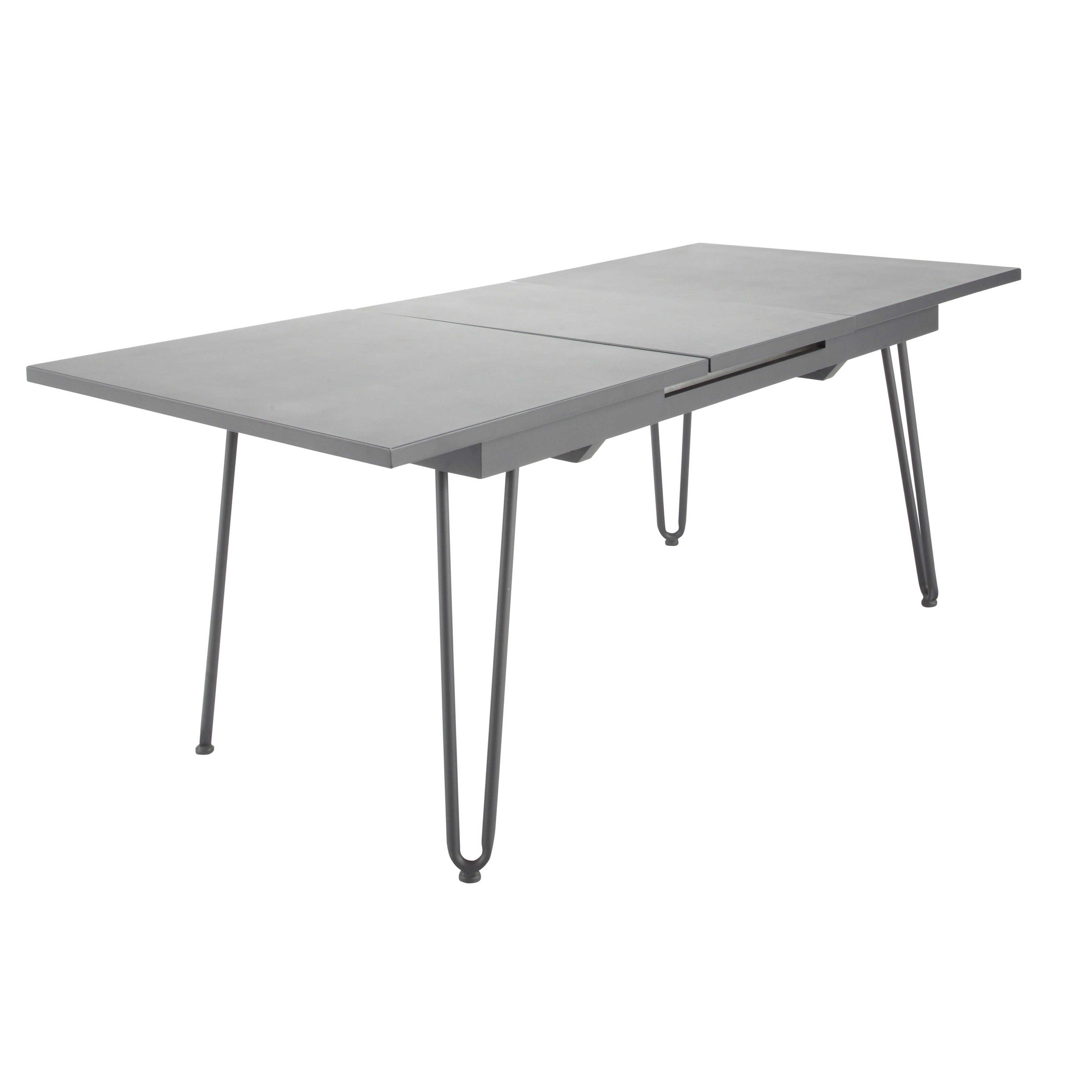 Maison du monde table de jardin rallonge en m tal gris ardoise l 150 cm swing terrasse - Table de jardin metal gris ...
