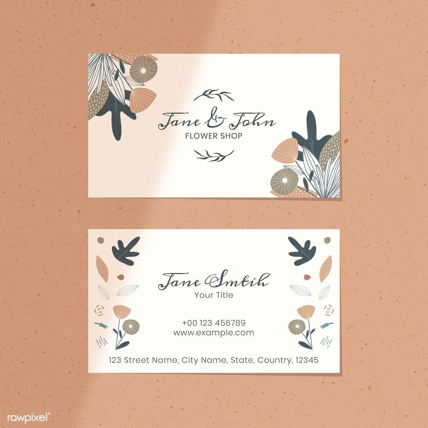 Floral Flower Shop Name Card Vector Premium Image By Rawpixel Com Katie Moir Flower Shop Names Name Cards Flower Shop
