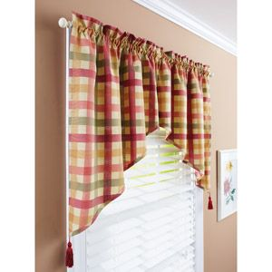 Better Homes and Gardens Red Check Swag Valance walmart ...