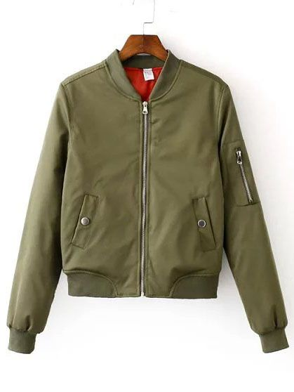 Buy It Now Army Green Zipper Bomber Jacket With Arm Pocket Green Polyester Basic Stand Collar Short Zipper Fall Pla Chaquetas Chaqueta Bomber Cazadora Bomber