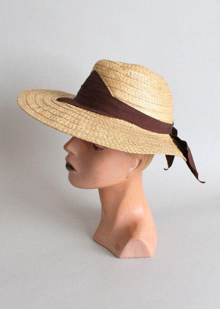 Vintage 1940s Dobbs Women's Wide Brim Straw Hat | Raleigh Vintage