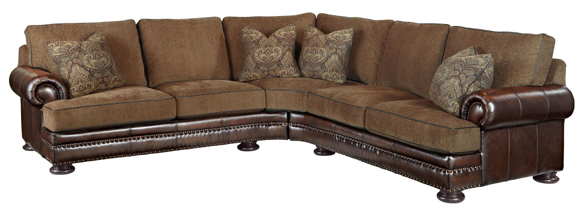 Superbe Bernhardt | Foster Fabric/Leather Sectional Group (5192LCO, 5191LCO)