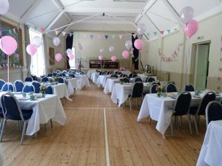The hall is an excellent setting for this vintage tea party to