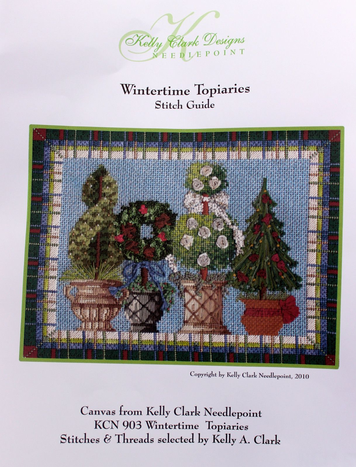 Kelly Clark NP Wintertime Topiaries Stitch Guide HP Needlepoint Canvas   eBay