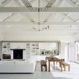Vaulted Cathedral Ceiling With Exposed Beams And Cross Beams Modern Lake House House Design Interior Architecture