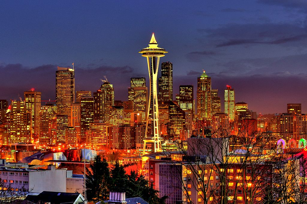 Seattle Map Lake Union%0A In Seattle  they light a tree on top of the Space Needle for Christmas