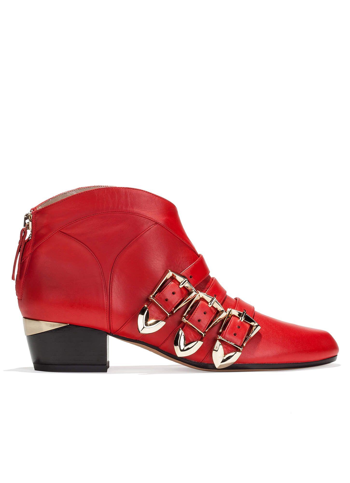 Pura PURA tacón LOPEZ medio de rojos tienda · López en Botines de piel zapatos qzFZ7xFSw