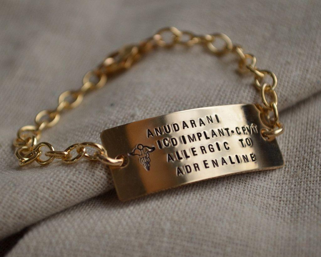 Fashionable Custom Large Gold Medical Alert Bracelet Great For Allergies Diabetes Autism Or