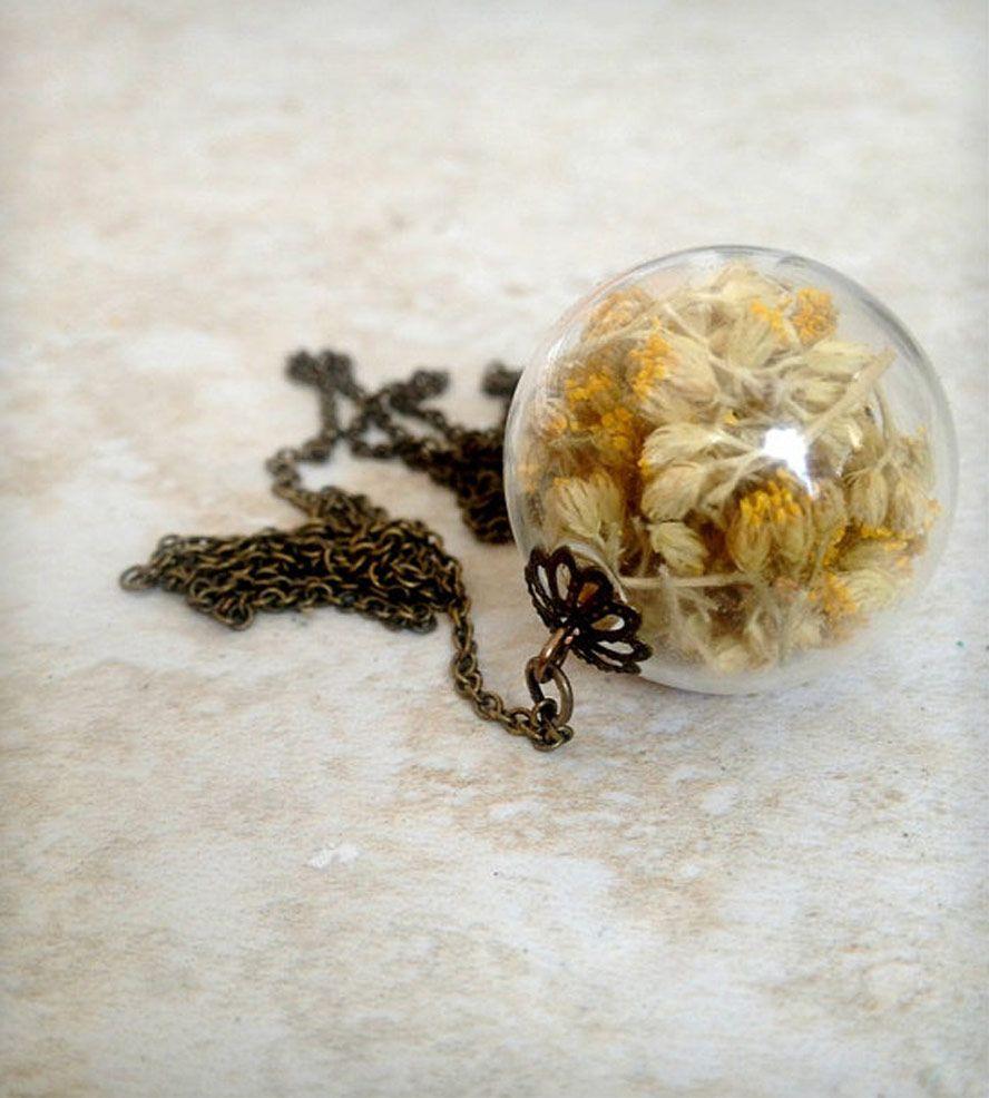 Rustic Yarrow Orb Necklace
