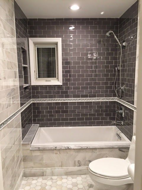 Sterling Glass Subway Tile And Hampton Carrara Marble