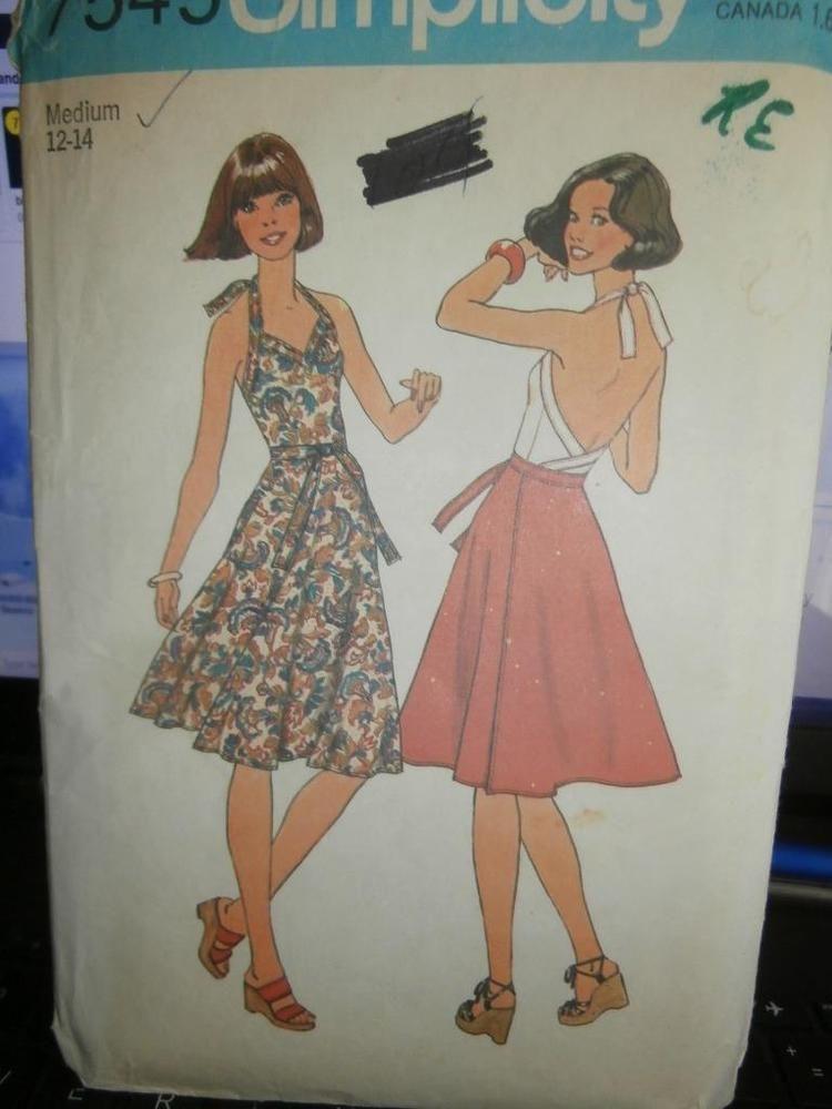 Simplicity Sewing Pattern 7545 Woman\'s Halter Top Skirt Medium M 12 ...