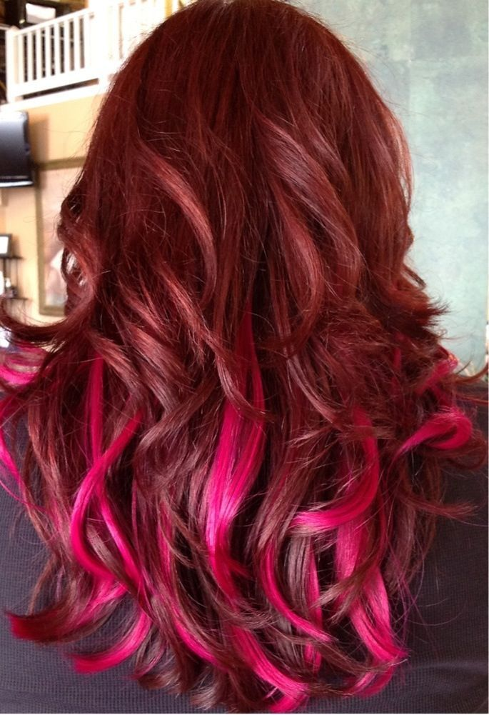 Image Result For Pink Highlights Underneath In Brown Hair