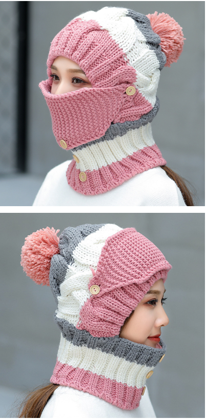 0bff032bad1 Women Winter Windproof Warm Plus Velvet Knit Hat Scarf Set with Face Mask  Thicken Ski Earmuffs Cap - Pink  earmuffs  caps  hatscarf  facemask  khit   beanie ...
