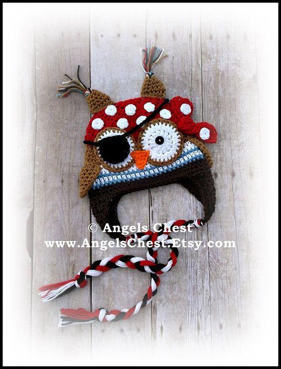 Crochet OWL PIRATE Beanie Earflap Hat PDF Pattern Sizes Newborn to ...