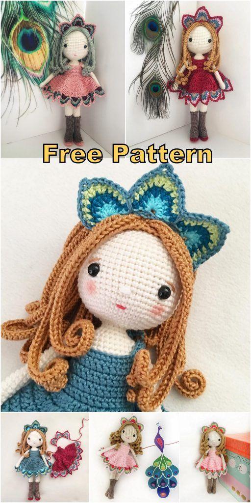 Amigurumi Lady Peacock Free English Crochet Pattern - Crochet.msa.plus - Love Crochet #crochetdolls
