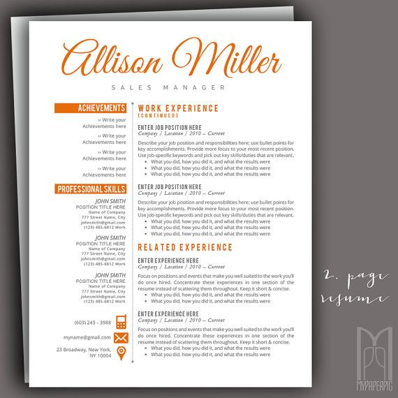 Job Specific Resume Templates Resume Template And Cover Letter Templatemypaperpig On Etsy .