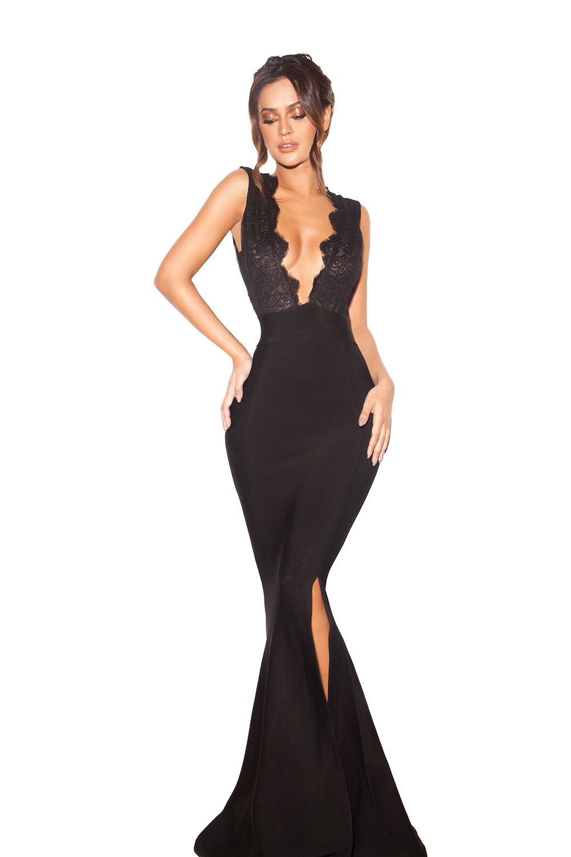 522d8ac251 Clothing Max Dresses Balere Black Bandage and Lace Maxi Dress