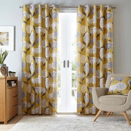 Best Elements Floral Stylish Ochre Yellow Emmott Eyelet 400 x 300