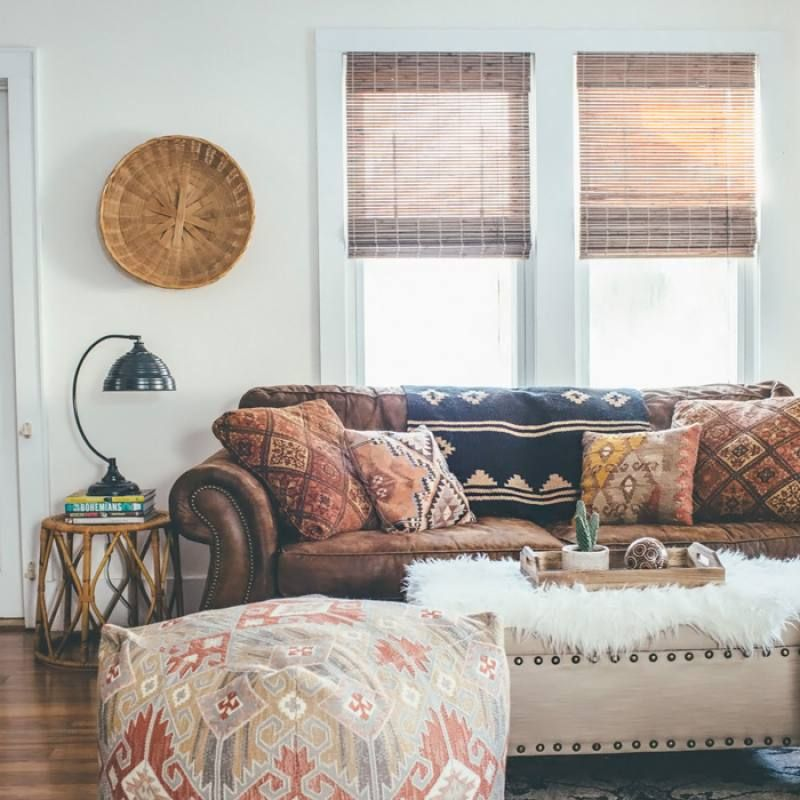 Room redo: Vintage bohemian living room with rustic leather sofa images