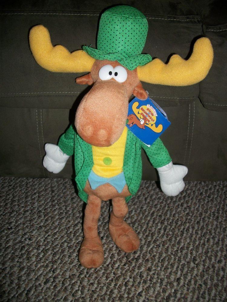 Rocky & Bullwinkle Moose Plush Stuffed Doll w/ Tags EXC COND