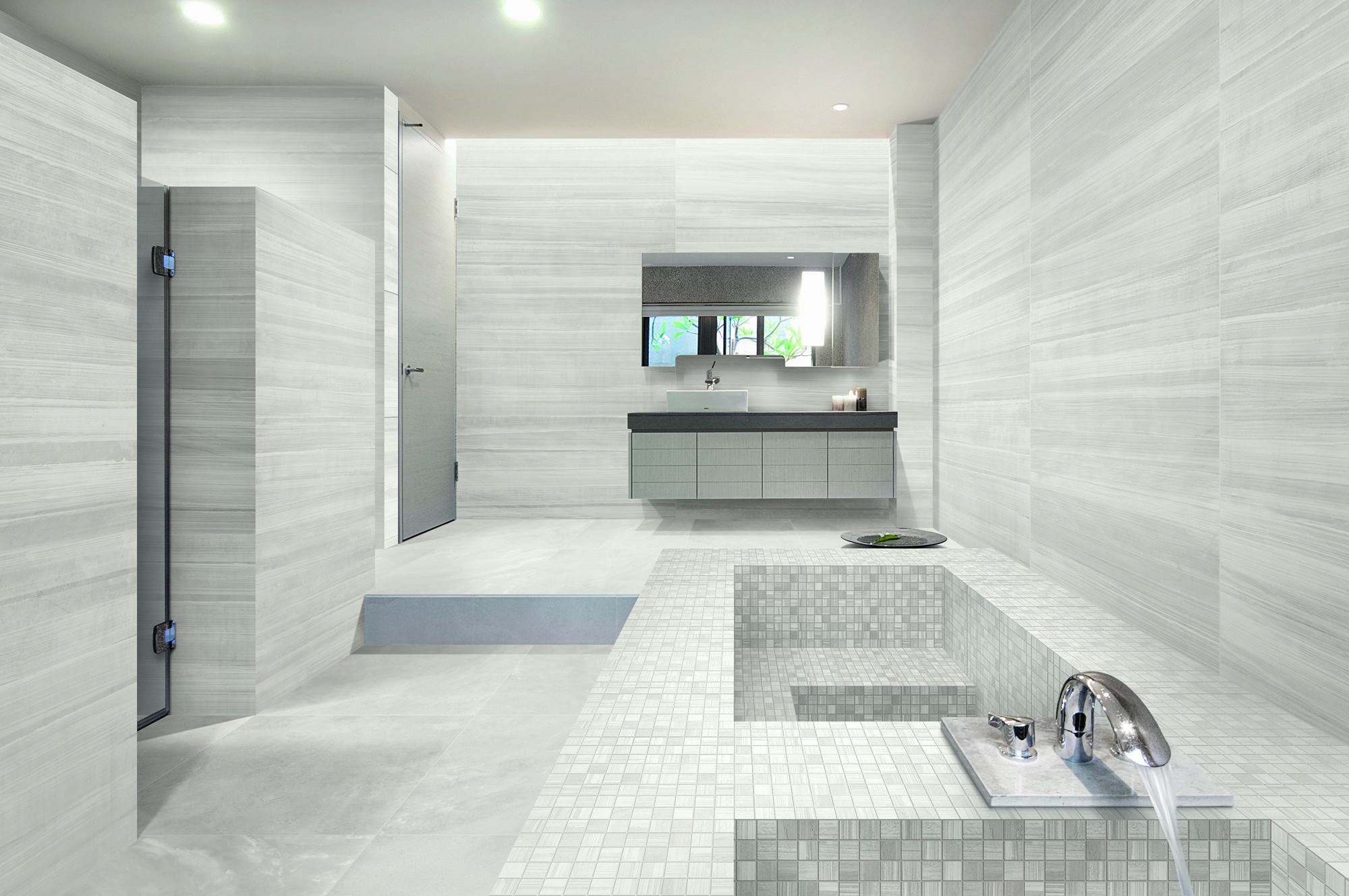 Stunning bathroom created with light concrete look tiles throughout ...