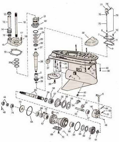 Omc Cobra Lower Gearcase Parts Layout 480572