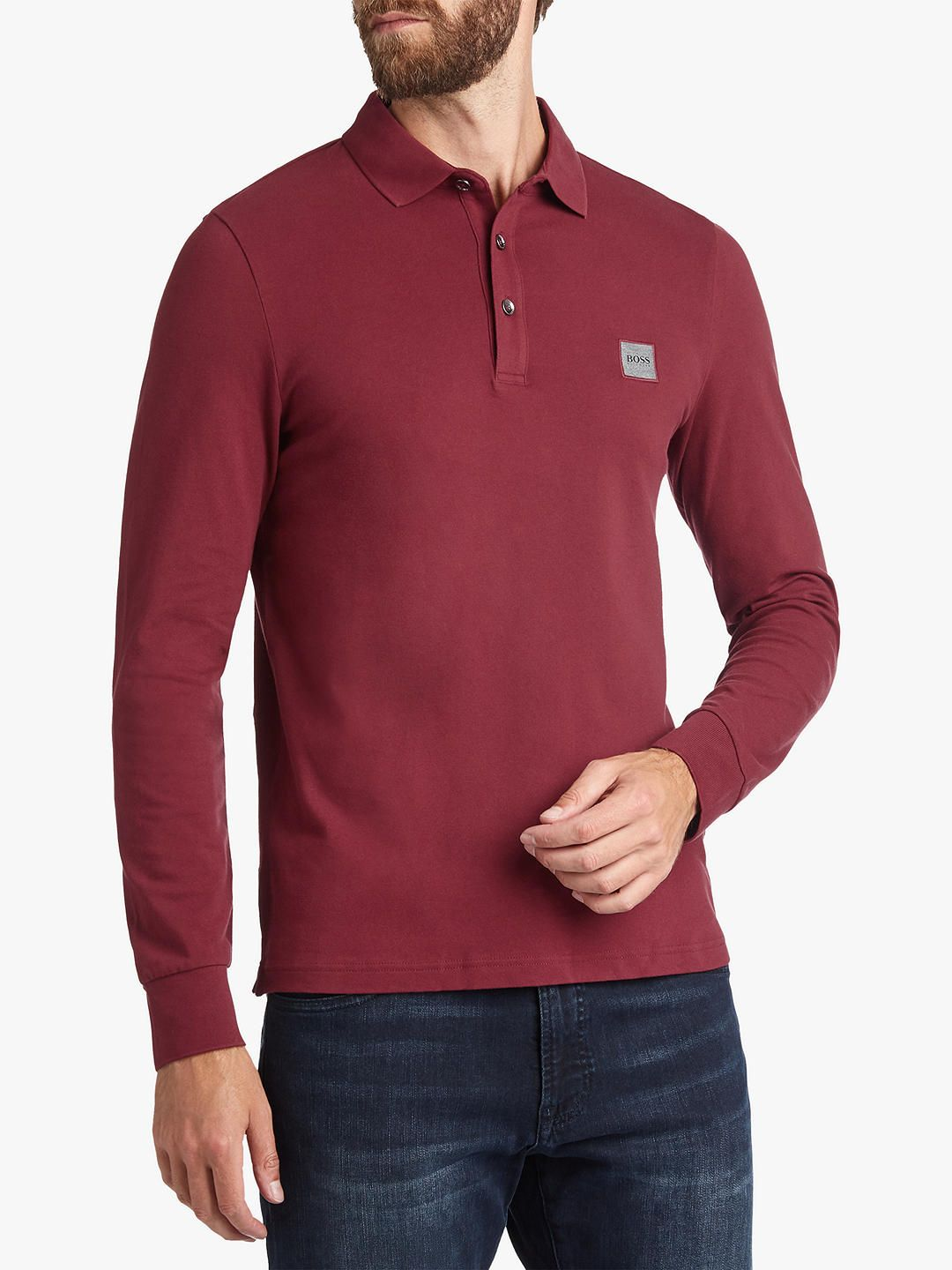 Buyboss Passerby Long Sleeve Polo Shirt Open Red S Online At