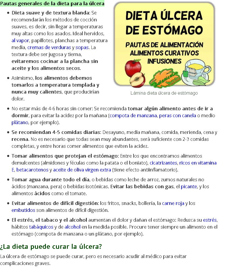 dieta con ulcera de estomago