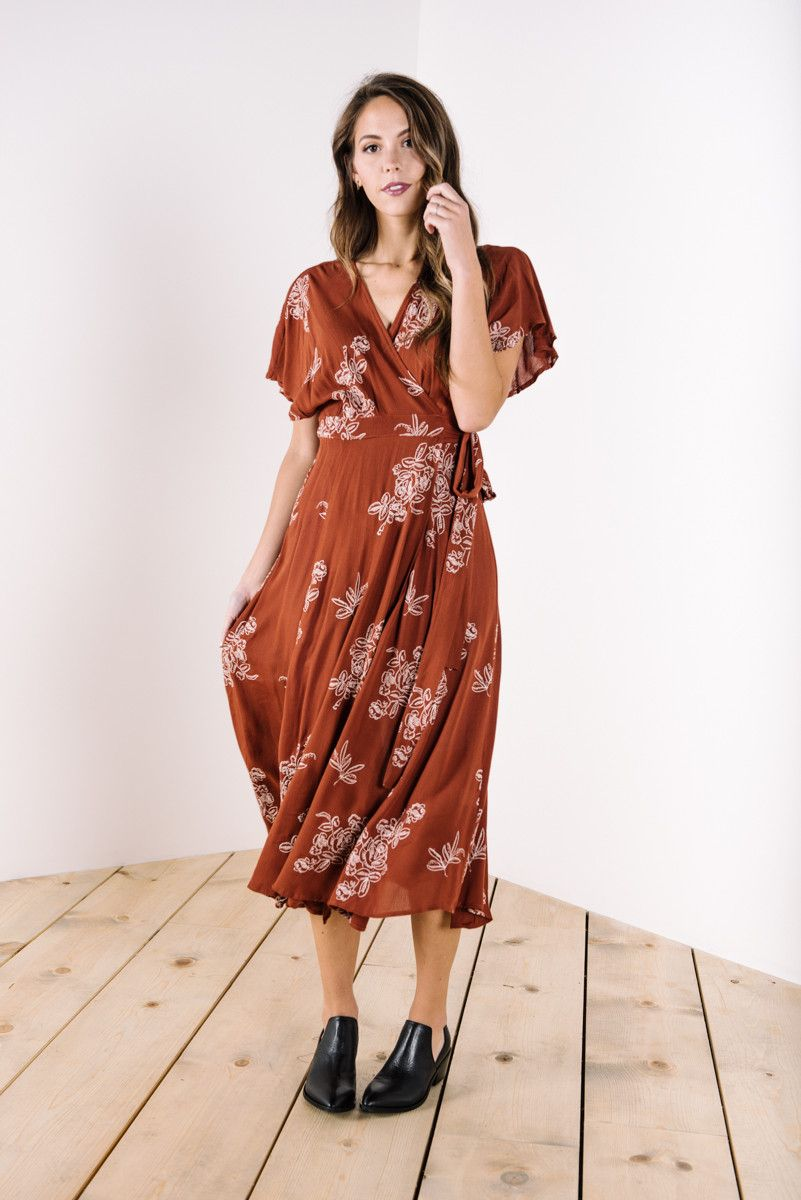 c4b7fa1ff470 The Beverly Embroidered Wrap Dress in Rust