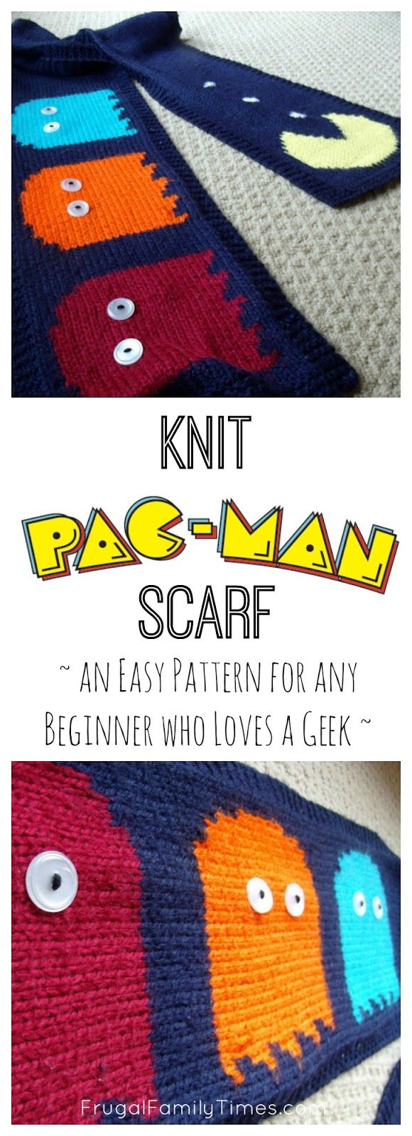 A simple pattern for an 8-bit, retro, 80s PacMan scarf. Easy enough for beginners to knit. Cool enough for any man, woman or child to wear. A great gift idea for the video game geek in your life!