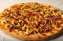 Pastrami Mustard Pickle Pizza from Rose City Pizza