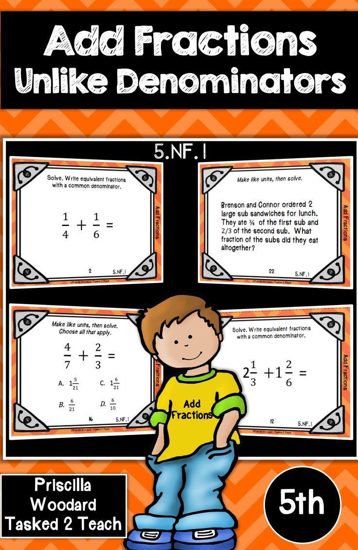 Add fractions with unlike denominators 5th grade