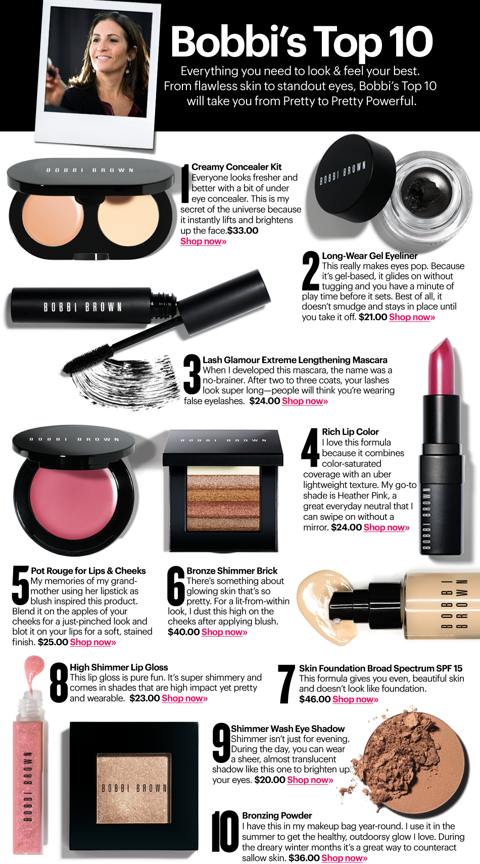 20 These Are Bobbi Brown S Top Ten Make Up Favorites Create A Page Featuring Your Own Top Ten List About Anythi Makeup Names Bobbi Brown Makeup Brown Makeup