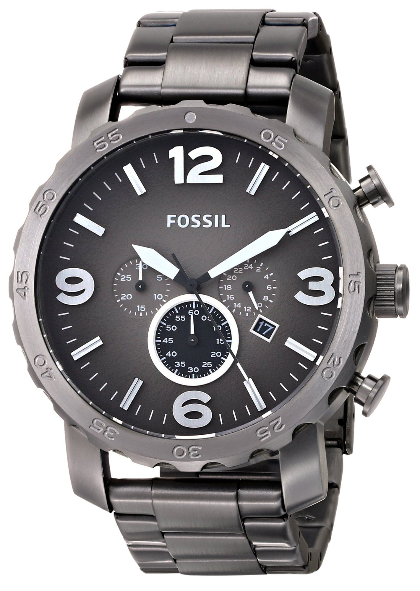 6fd40312aa40 Amazon.com  Fossil Men s JR1437 Nate Chronograph Smoke Stainless Steel Watch   Fossil Watches  Watches