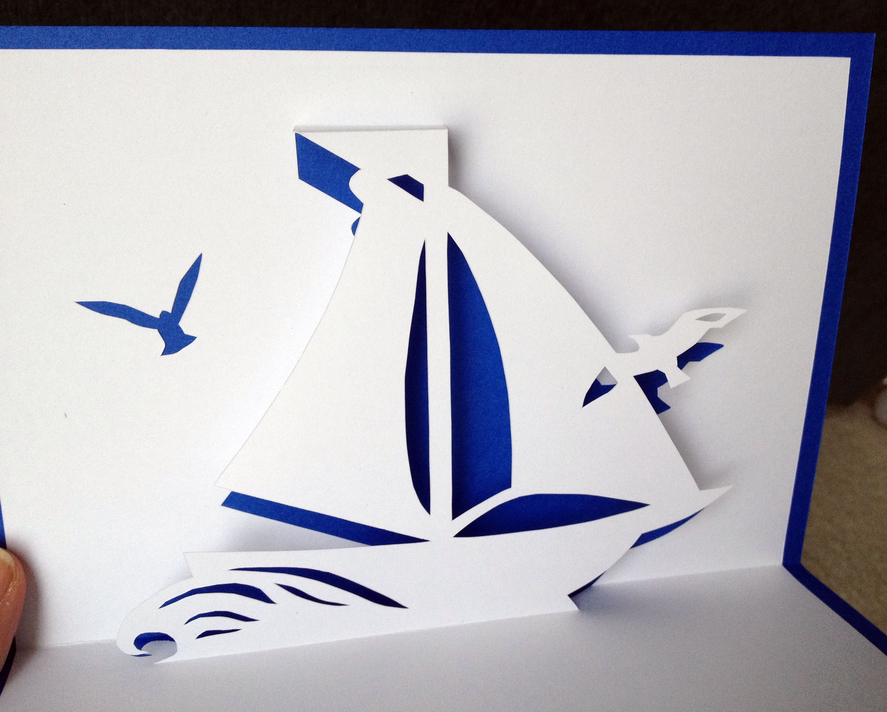 Sailboat With Gulls Pop Up Card Pop Up Cards Card Craft Card Tutorial