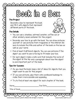 Book In A Box Book Report  Independent Reading Book Projects And