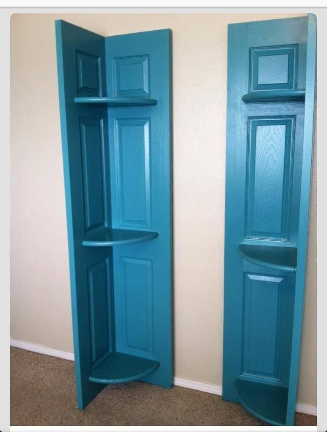 Turn Closet Bi Fold Doors Into A Corner Shelf Brilliant Old Closet Doors Diy Door Bifold Doors Makeover