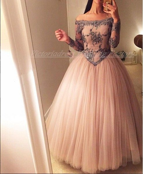 Click to Buy << Long Sleeves Off Shoulder Ball Gown Peach