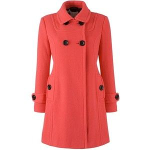 John Lewis Women Reefer Swing Coat, Poppy