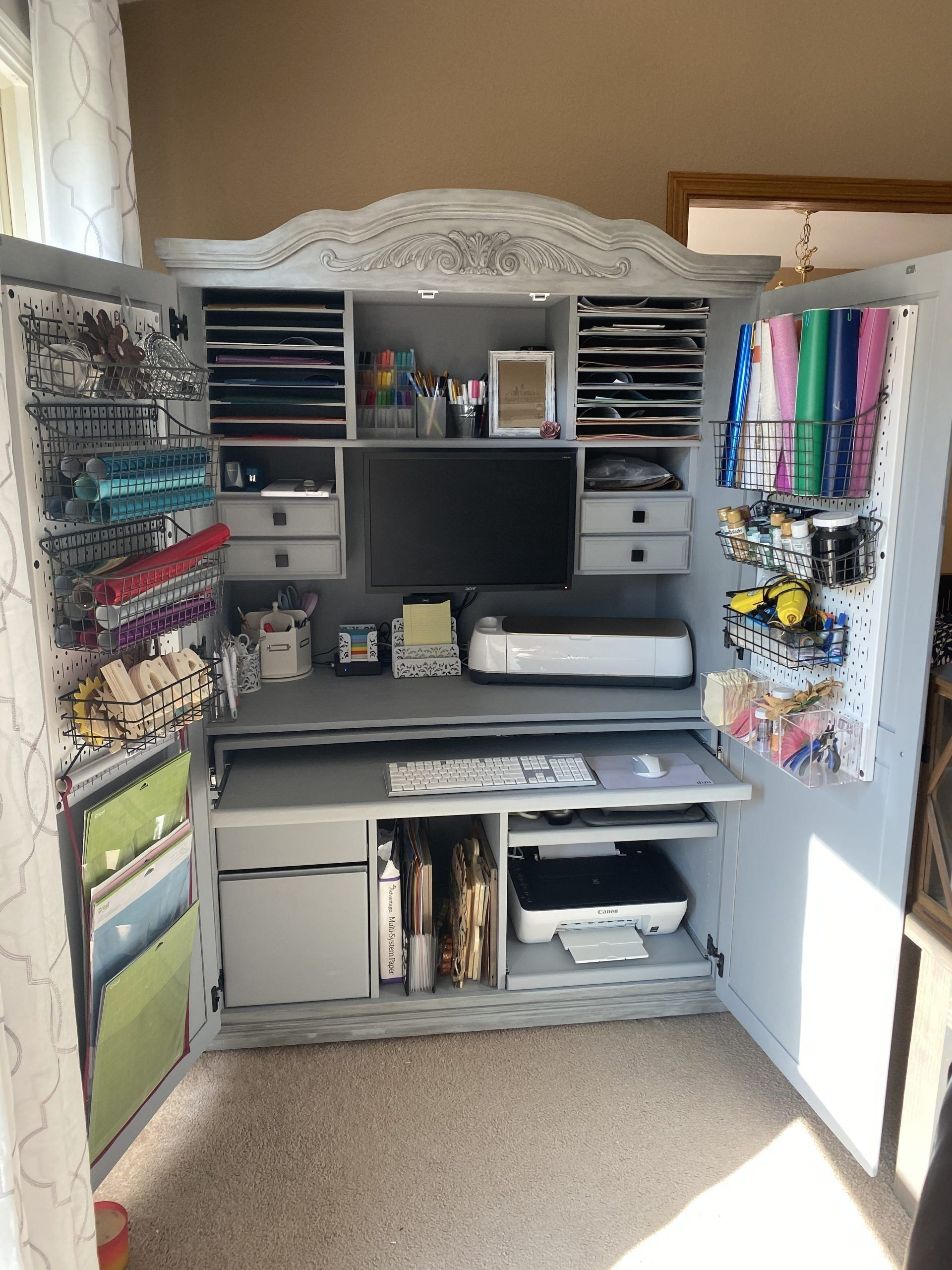 Turn a $60 Computer Armoire into a Cricut Craft Cabinet ...
