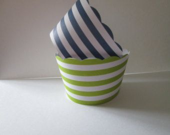 12 Lime and Navy Striped Wrappers- Nautical Party, Striped Cupcake,Striped Wrappers, Navy and Lime Nautical