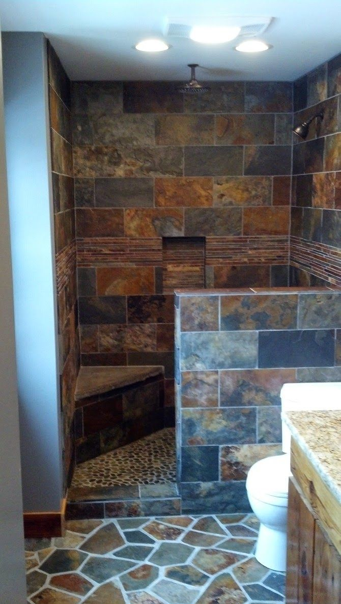 Copper Rust Bathroom Designed By One Of Our Store Associates Thetileshop Rustic Bathroom Shower Bathroom Design Stone Tile Bathroom