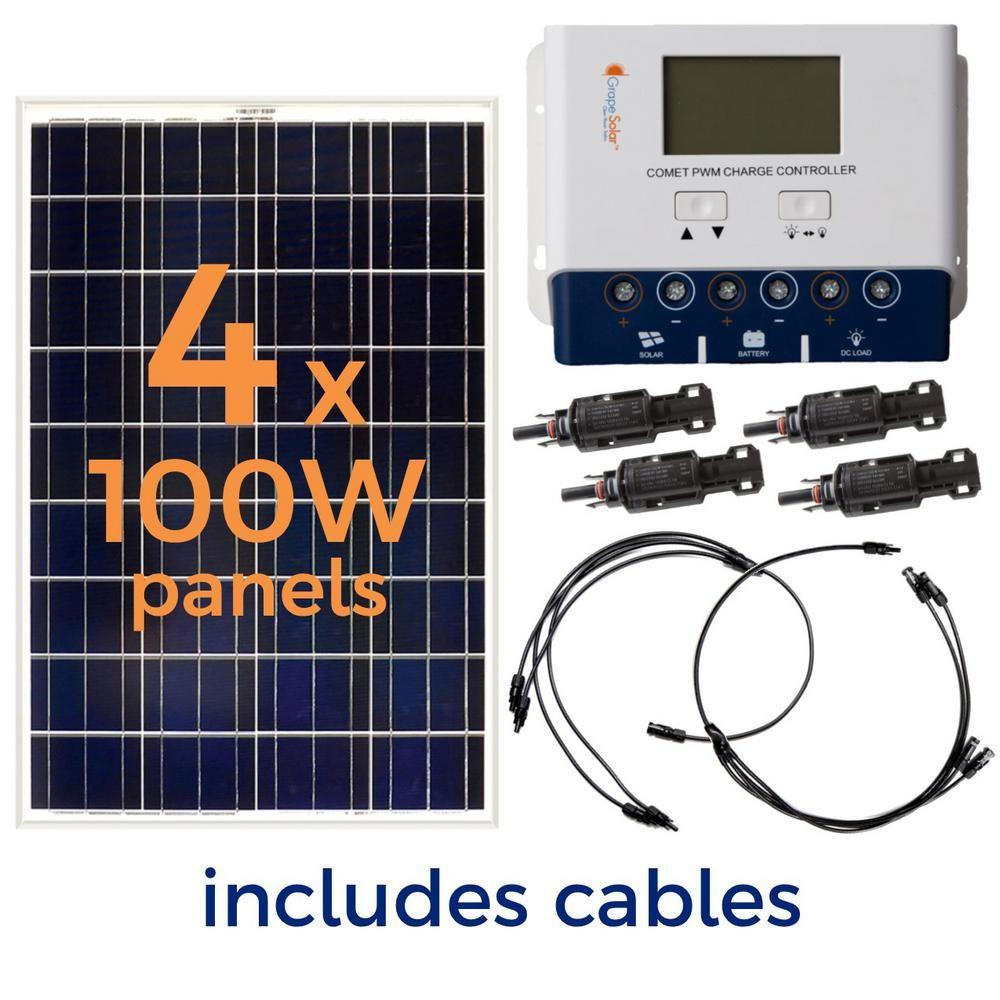 Grape Solar 400 Watt Off Grid Solar Panel Kit Gs 400 Kit The Home Depot In 2020 Solar Panel Kits Off Grid Solar Panels Solar Panel Installation