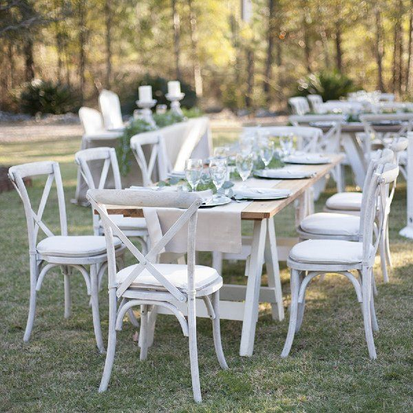 Sonoma Chairs White Wash These Wooden Cross Back Chairs Make For A Gorgeous Classic Table Setting Crossback Chairs Wedding Furniture Outdoor Furniture Sets
