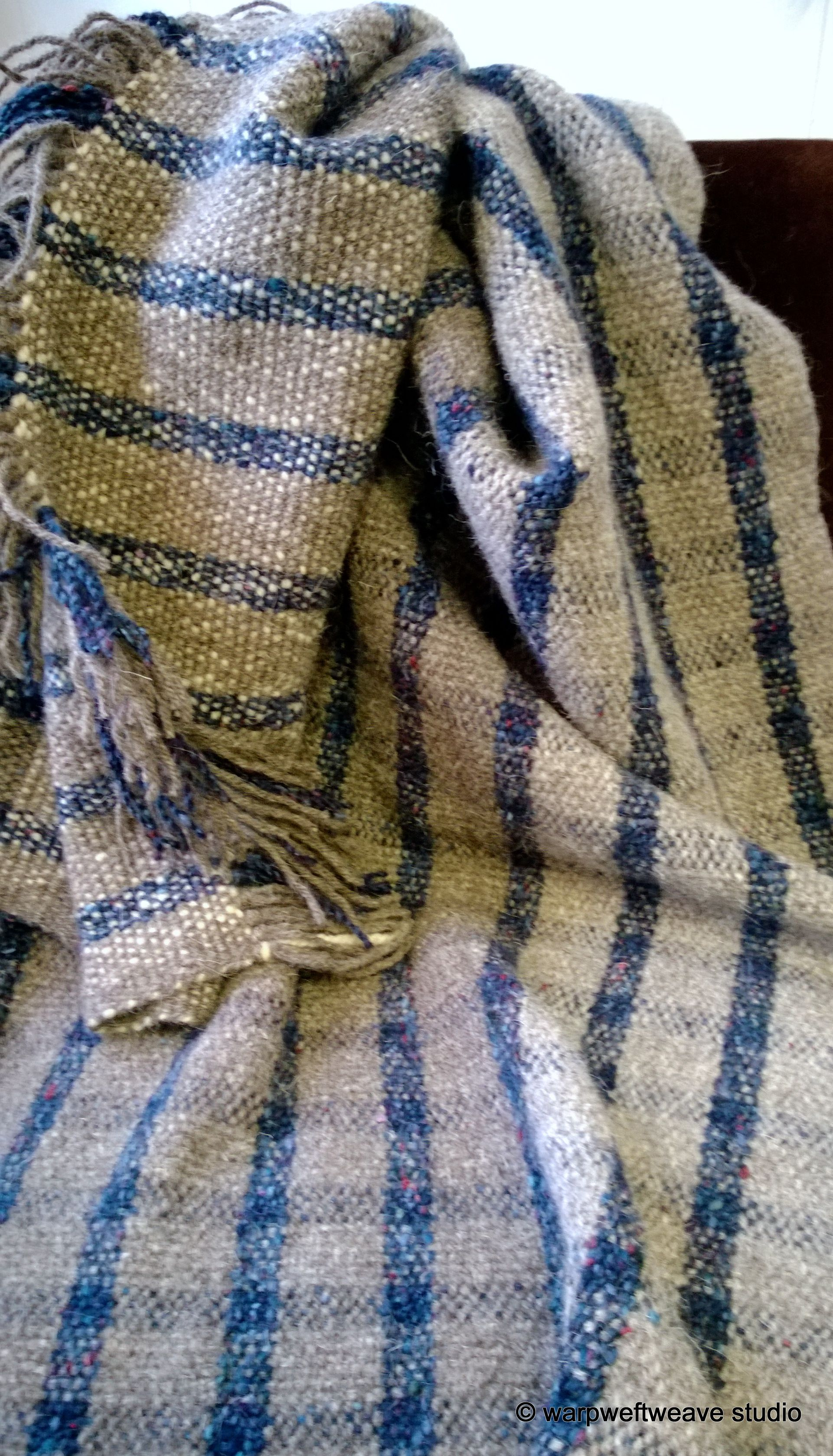 Hand-Woven Herdwick Blanket. For Sale £140 Pure Herdwick Bed/Chair throw Grey and White Herdwick with Blue Fibre mix.
